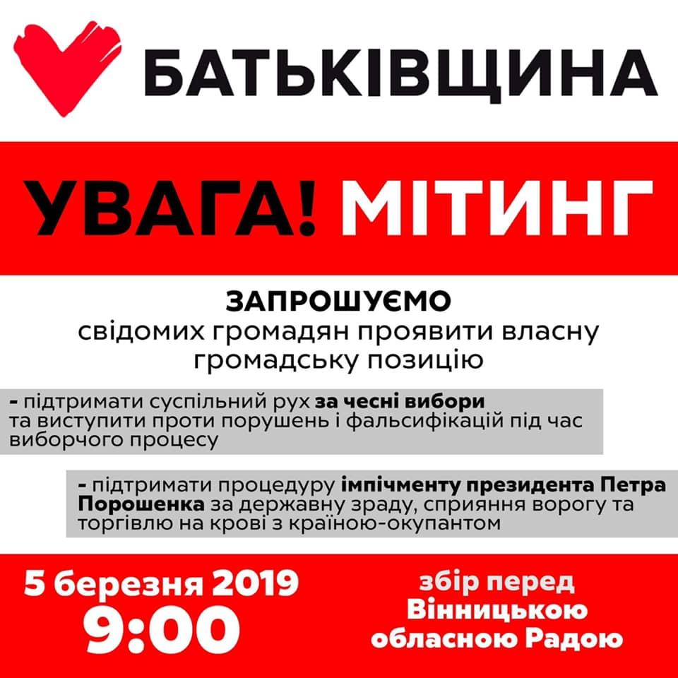 5 березня «Батьківщина» пікетуватиме сесію облради у Вінниці. Вимоги «тимошенківців» – чесні вибори та імпічмент Порошенка