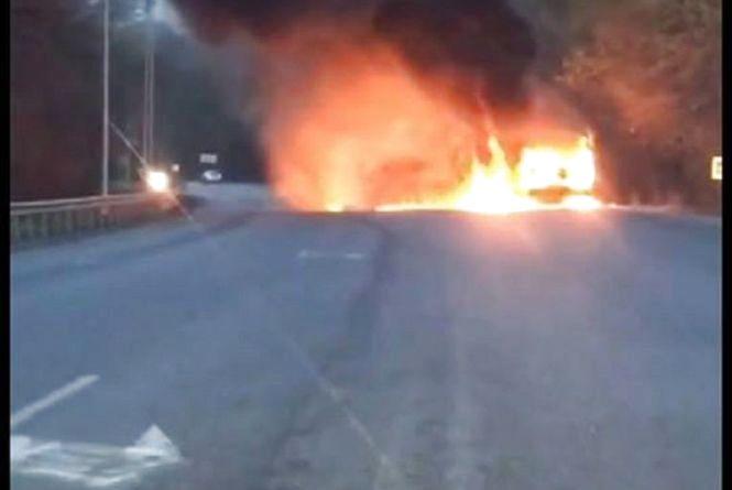 ПАЗ під Стрижавкою вигорів вщент… Ніхто не гасив – всі знімали пожежу! (відео)