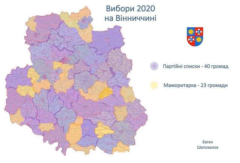 Вибори на Вінниччині – до 40 ОТГ по партсписках, до 23 – мажоритарка