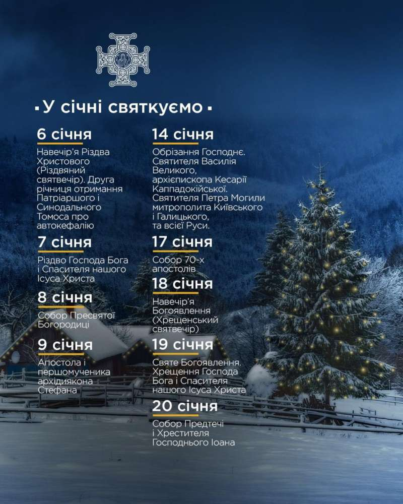 Які свята чекають нас у січні?